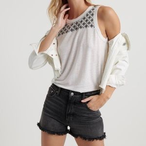 Lucky Brand   Boho Embroidered Shell Tank Top